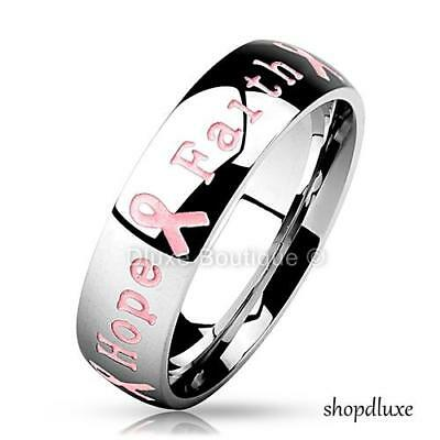 STAINLESS STEEL 6MM PINK RIBBON BREAST CANCER AWARENESS RING BAND SIZE - Pink Sword