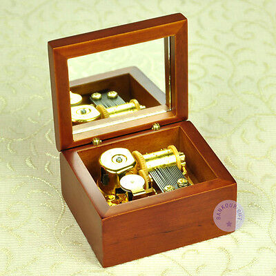 """Play """"Canon in D Major"""" Wooden Wind up Music Box With Sankyo Musical Movement"""