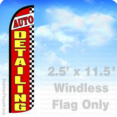 Auto Detailing Windless Swooper Flag Feather Banner Sign 2.5x11.5 Checkered Rz