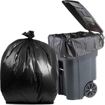 PlasticMill 95 Gallon, Black, 1.2 Mil, 61x68, 50 Bags/Case, Garbage Bags.