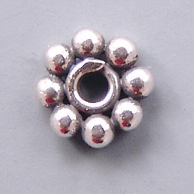 Bali Sterling Silver Daisy Beads B144 (10) Flat 6mm