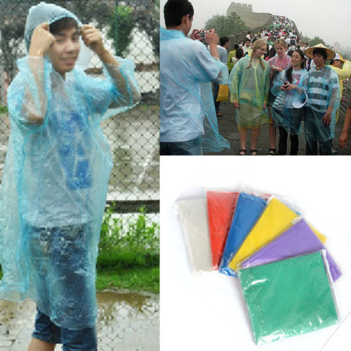 10x-FESTIVAL-EMERGENCY-PONCHO-PLASTIC-RAIN-COAT-HOODED-WHOLESALE-QUANTITIES-LOTS