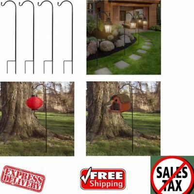 Shepard Hooks Bird Feeder Pole Tall Garden Stakes Hanging Plant Lantern Set Of 4