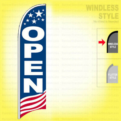 Open - Windless Swooper Flag 2x11.5 Ft Feather Banner Sign Usa Bb