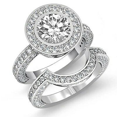 4ct Round Halo Pave Diamond Bridal Set Engagement Ring GIA F VVS2 14k White Gold