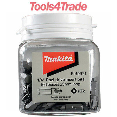 Makita PZ2 25mm Long Screwdriver Bits 100 Piece in Candy Tub - P-49971