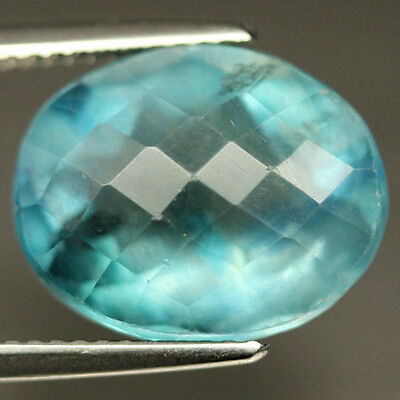 9.88 CT NATURAL! GREEN CHINA FLUORITE OVAL CHECKERBOARD TABLE ALLURING