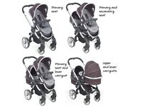 iCandy peach black jack design double twin tandem pushchair pram buggy stroller with carrycot