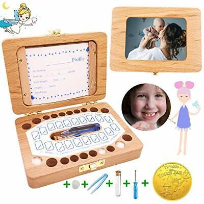 Baby Tooth Box Solid Wood Kids Keepsake Organizer Holder for Baby Teeth and H...
