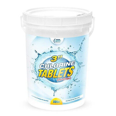 "3"" Chlorine Pool Tablets 50lb Bucket Pool Sanitizer 99% Tri-Chlor—Free Shipping!"