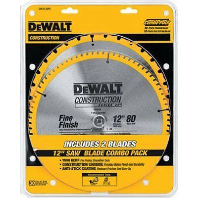DEWALT DW3128P5 80 Tooth 32T ATB Thin Kerf 12 Crosscutting Miter Saw Blade 2pack