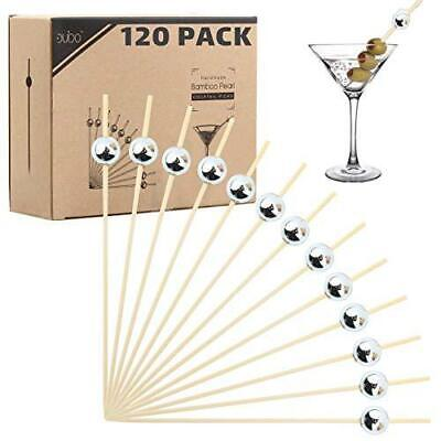 Bamboo Cocktail Picks Skewers Toothpicks - 120 Silver Pearl 4.75 inch Wooden Fri