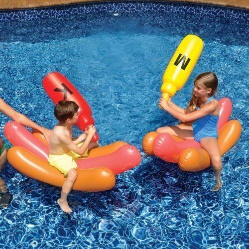 Boppers Hot Dog Battle Ride On Inflatable Set Pool Games Whack em Swimline 90842