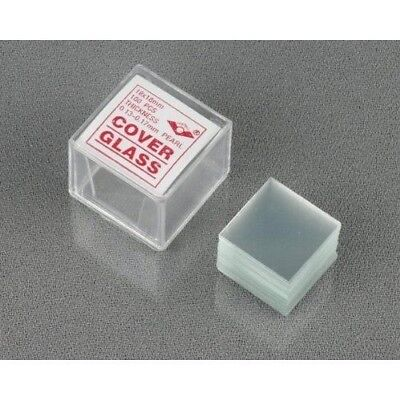 Amscope 100pc Cleaned Square Microscope Glass Cover Slides Coverslips 18mmx18mm