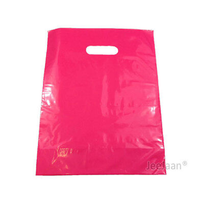 100 Dark Pink Plastic Carrier Bags 10