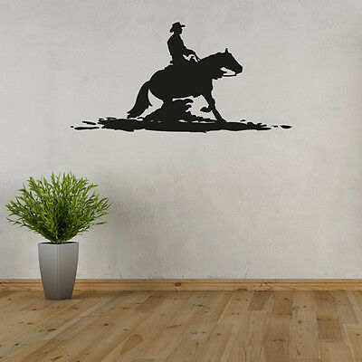 Wandtattoo Cowboy & Pferd Silhouette Schatten Reiter Aufkleber Wand Tattoo #2140