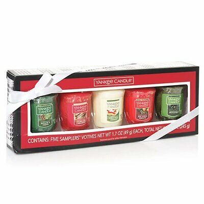 Yankee Candle Christmas Holiday Votive Sampler Gift Box Set 5 Assorted Scents
