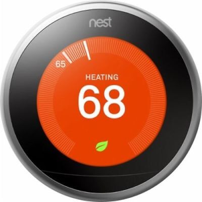 !DEAL! Nest Learning Thermostat 3RD GENERATION T3007ES in Stainless Steel #9564R