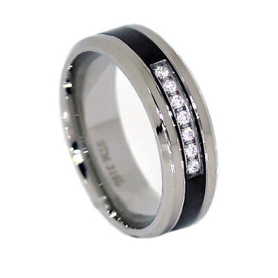 Stainless Steel Mens Ring Clear CZ 7 Round Stones with Black Accent Wedding (Stainless Steel Black Accent)
