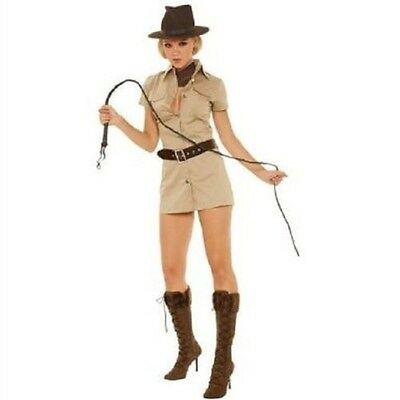 LADIES INDIANA JANE COSTUME- SAFARI GIRL- JUNGLE EXPLORER -S-M-L-XL 80'S FILM
