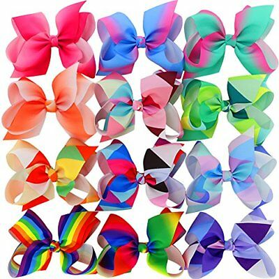 Hair Bows For Girls Large Ribbon Boutique Rainbows Bow Clips Kids Set Of 12 - Large Ribbon Bows