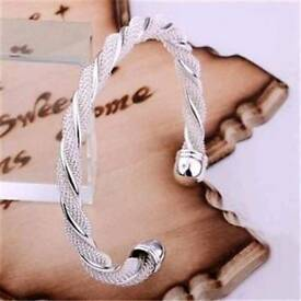 Womens 925 Solid Silver Bangle Bracelet Jewelry