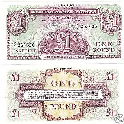Used, BRITISH ARM FORCES 1 POUND NOTE 4TH SERIES UNC~FR/SHIP~ for sale  Shipping to Canada