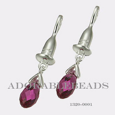 Authentic Chamilia Sterling Silver Bead Drop Briolette Fuchsia Earring 1320-0001 for sale  New York