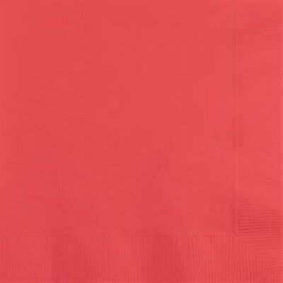 Coral Pink Paper Napkins (Coral Beverage Napkins 50 Per Pack Coral Party Decorations & Party)