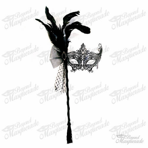 Handheld Stick Mask Women Black Laser Cut Metal Venetian Masquerade Mask