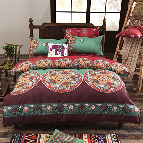 Lightweight Microfiber Duvet Cover Set Bohemian Exotic Patterns Double Size NEW