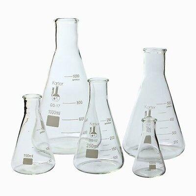 Karter Scientific Glass Erlenmeyer Flask 5 Piece Set 50 150 250 500 1000 Ml