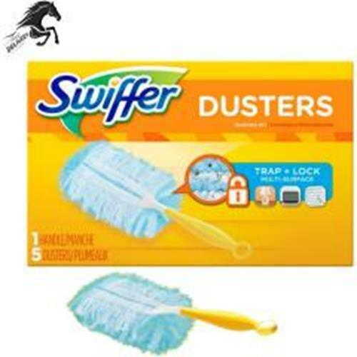 Swiffer Duster Short Handle Starter Kit, 1 Handle, 5 Dusters Household Cleaning