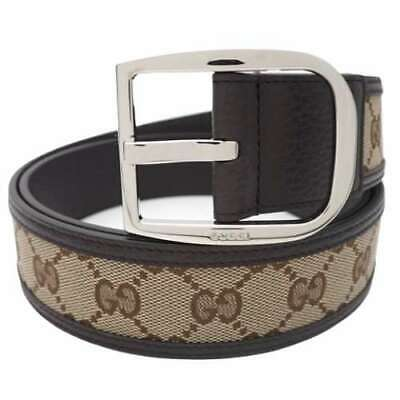 Pre-owned GUCCI 449716-KY9LN-9903 GG Canvas Belt Brown Leather Size 90/36 F/S