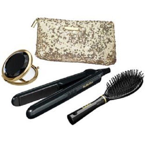BaByliss 2858GU Sheer Glamour Ceramic Straightener Set Black With Travel Bag.NEW