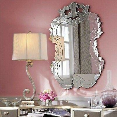 "NEW 40""H Venetian Engraved Wall Mirror Horchow Shabby French Chic Oval"
