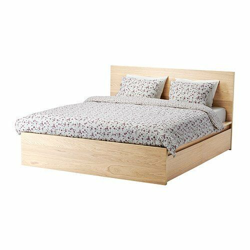 IKEA MALM BED FRAME KING SIZE WHITE STAINED OAK + 4 STORAGE BOX