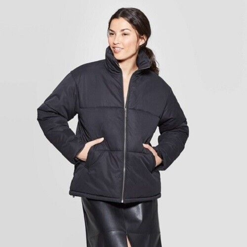 A New Day Womens' Puffer Jacket – Black XXL Clothing, Shoes & Accessories
