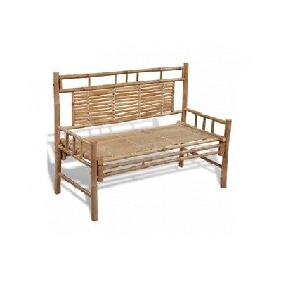 Outdoor Bamboo Bench With Backrest Garden Seat Waterproof Patio Seater Benches