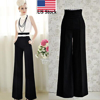 $11.15 - Women fashion High Waist Flare Wide Leg Long vintage Pants Palazzo Trousers US