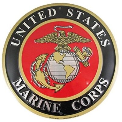 """UNITED STATES MARINE CORPS 12"""" EMBOSSED ROUND CIRCLE METAL SIGN USA MAN CAVE"""