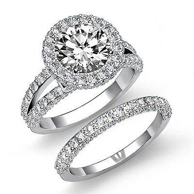3.78ct Round Pave Diamond Bridal Set Engagement Ring GIA F VS2 14k White Gold