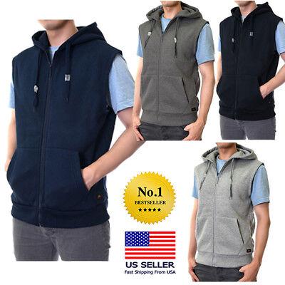 Mens Sleeveless Vest Solid Zipper Zip Up Hooded Hoodie Sweatshirt Cotton Warm