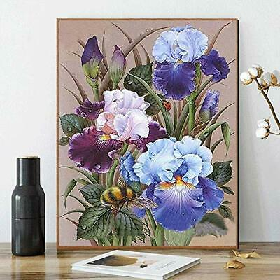 DIY Paint by Numbers for Adults Kids Acrylic Painting Kit Purple Iris Flowers