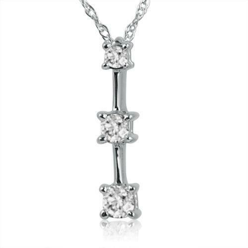 3 Stone Diamond Pendant White Gold Ebay