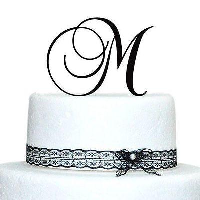 Black Laser-Cut Monogram Letter Initial Wedding Favor Birthday Party Cake -