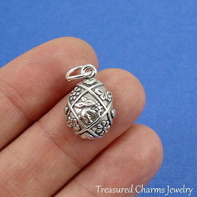 .925 Sterling Silver Decorated EASTER EGG CHARM PENDANT - Easter Jewelry