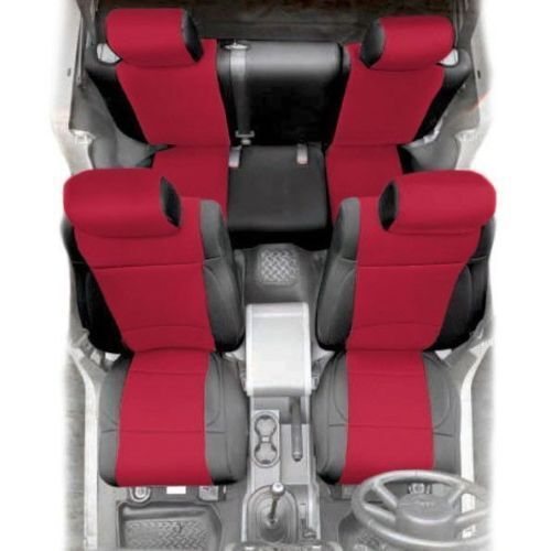 Front and Rear Neoprene Seat Covers Red for Jeep Wrangler JK 13-18 4 Door 471630