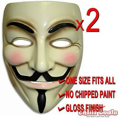 2x V For Vendetta guy fawkes Anonymous Mask Costume Party Fun Cosplay Bulk Sale - Vendetta Mask For Sale