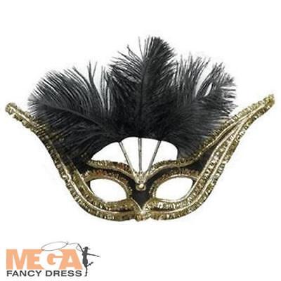 Black & Gold Gala Domino Eye Mask Adults Fancy Dress Masquerade Ball Costume Acc